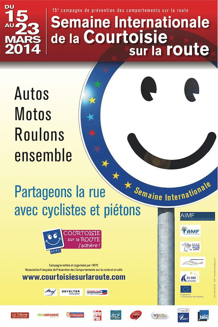 Affiche de la semaine internationale de la courtoisie au volant.