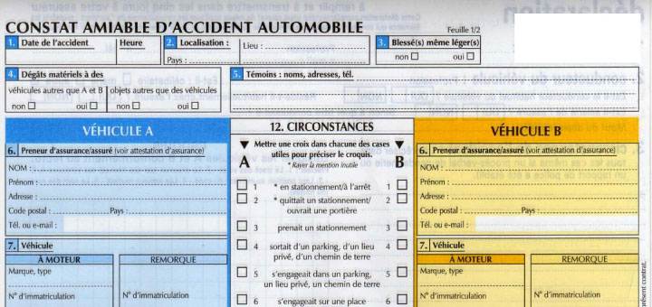 Le constat amiable d'accident automobile