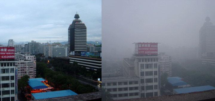 Sans et avec la pollution atmosphérique